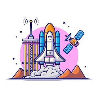 Ônibus espacial decolando com ilustração de ícone de desenho animado de torre, satélite e montanha.