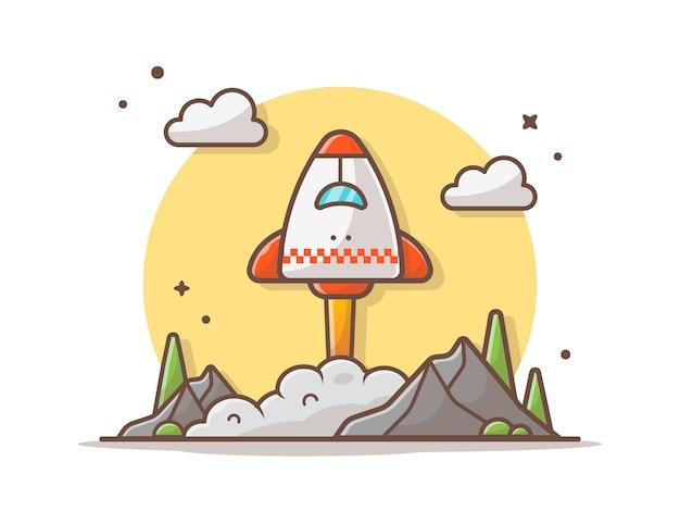 Ônibus espacial decolando com nuvens, montanha e ilustração vetorial de árvore