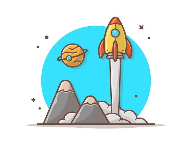 Ônibus espacial decolando com planeta e ilustração vetorial de montanha