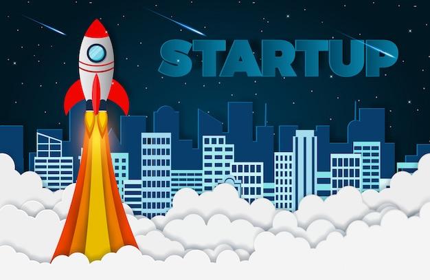 Ônibus espacial o lançamento para o céu. arranque o conceito de finanças de negócios