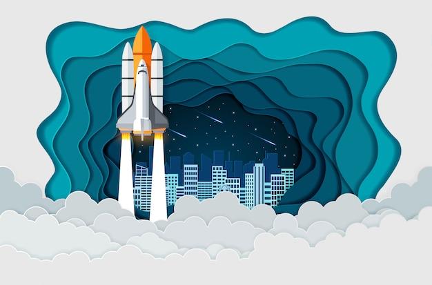 Ônibus espacial o lançamento para o céu cheio de estrelas à noite com a cidade nas costas, arranque o conceito de finanças de negócios, arte vetorial e ilustração de papel