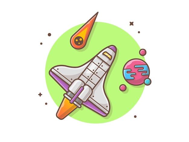Ônibus espacial voando com ilustração vetorial de planeta e meteorito