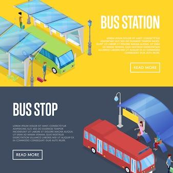 Ônibus esperando estação isométrica 3d banner web conjunto