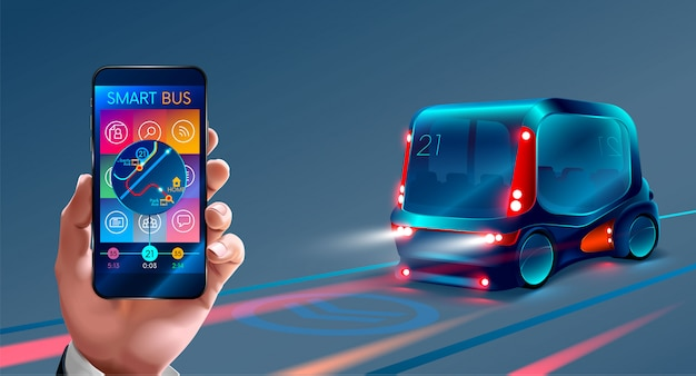 Ônibus inteligente, controle o barramento pelo seu telefone,