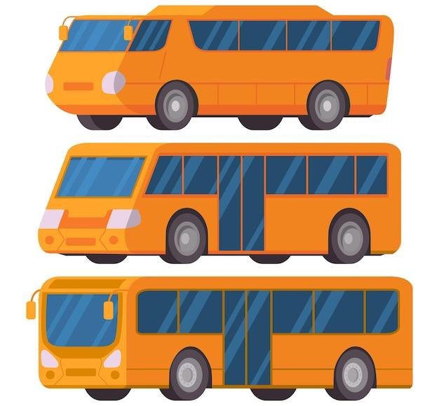 Ônibus municipal amarelo vista lateral do veículo ônibus turístico intermunicipal moderno