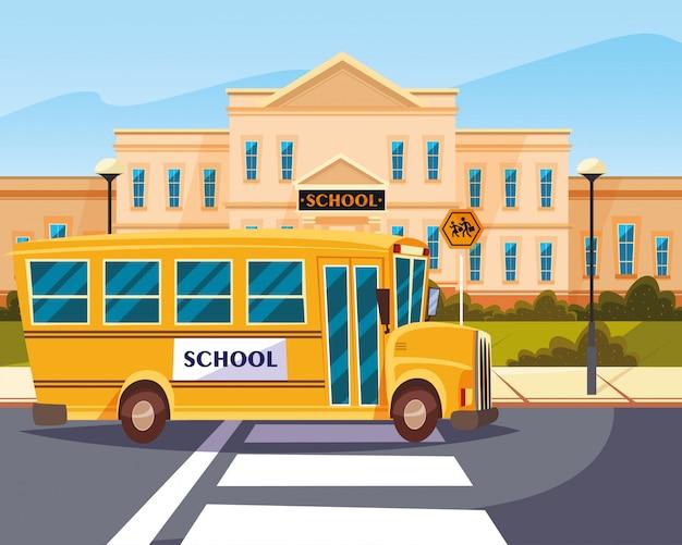 Ônibus na estrada com a construção de escola