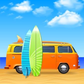 Ônibus retrô com pranchas de surf