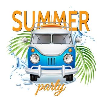 Ônibus retrô realista para festa de verão com prancha de surf