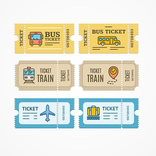 Ônibus, trem, avião, bilhetes, avião, design plano, ícone