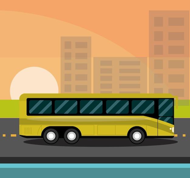 Ônibus urbano com vidros claros matizando ilustração da paisagem urbana