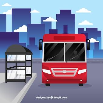 Ônibus urbano e ponto de ônibus com design plano