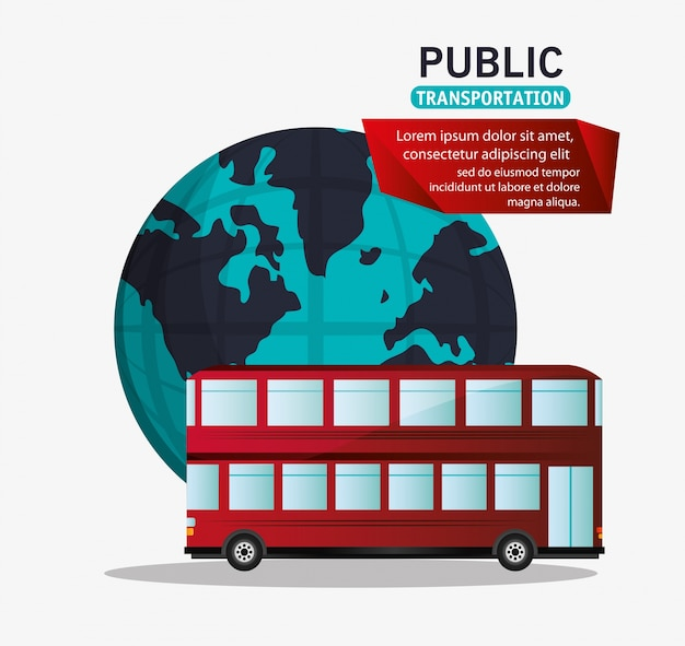 Ônibus vermelho dois andares de transporte público de turismo