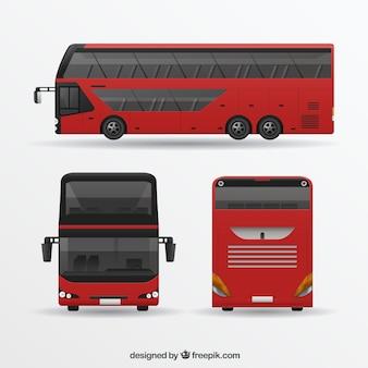 Ônibus vermelho em diferentes pontos de vista