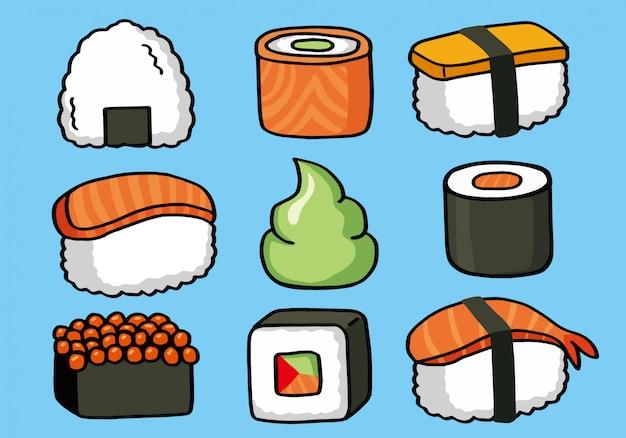 Onigiri e sushi sem costura doodle padrão