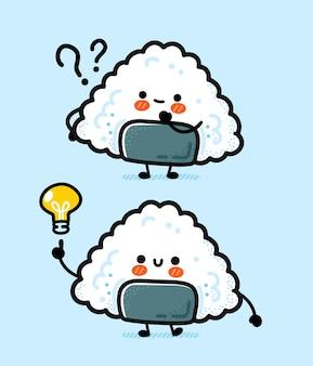 Onigiri engraçado bonito com lâmpada de pergunta e ideia.