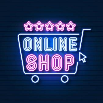 Online shop sinal de néon