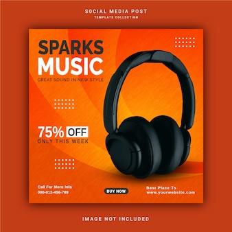 Online wireless sparks music store banner de postagem no instagram modelo de postagem nas mídias sociais