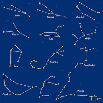 Ð¡onstelação dos signos do zodíaco, ilustração vetorial