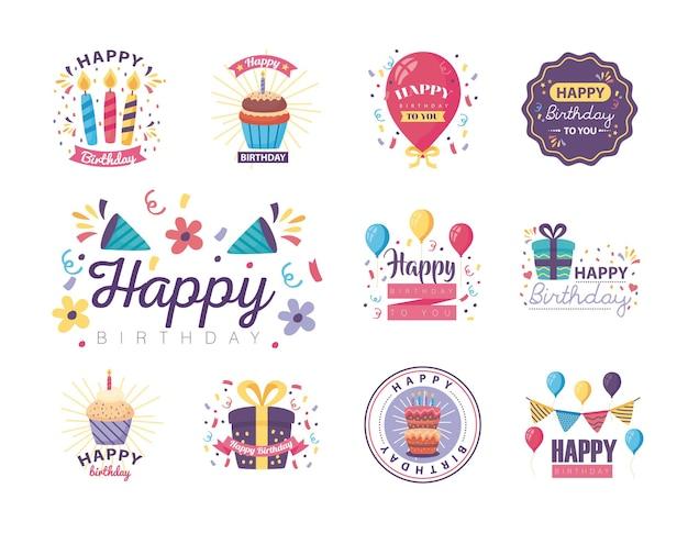 Onze emblemas feliz aniversário com design de ilustração de decoração