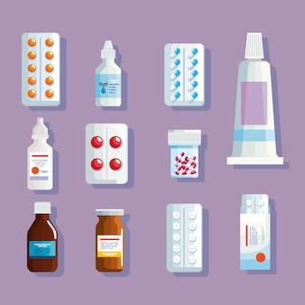 Onze ícones de medicamentos de farmácia