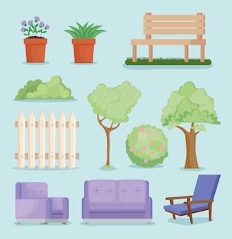 Onze ícones de quintal