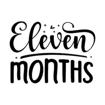Onze meses elemento tipográfico exclusivo design vetorial premium