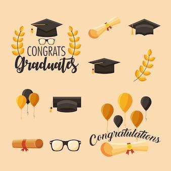 Onze parabéns ícones de graduados