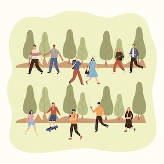 Onze pedestres caminhando