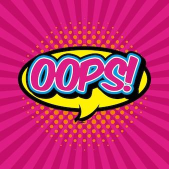 Oops pensamento bolha, pop art