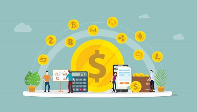 Opção de dinheiro de negócios de criptomoeda