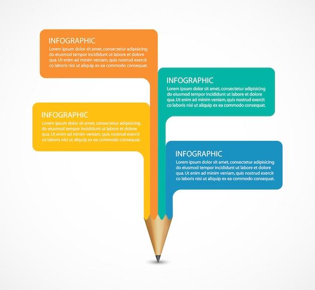 Opção de lápis de educação elemento de design de infográficos.