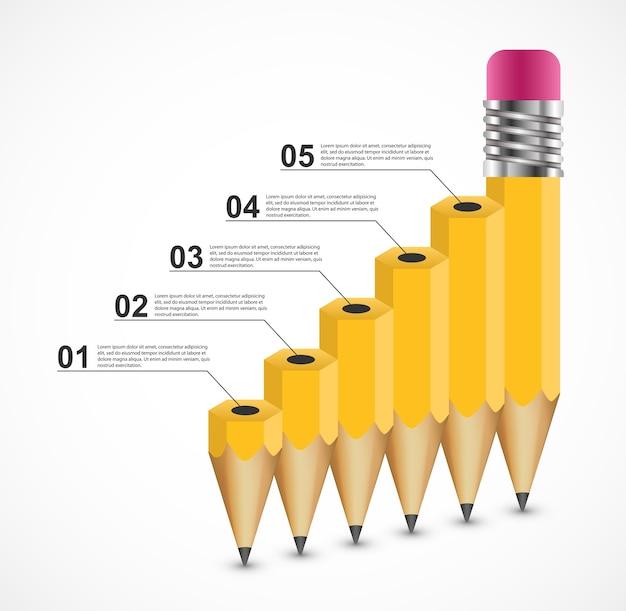Opção de lápis de educação modelo de design de infografia.