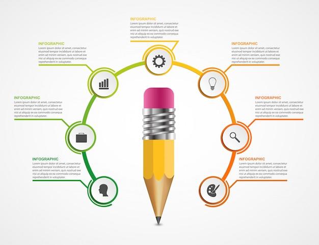 Opção de lápis de educação modelo de design de infográficos.