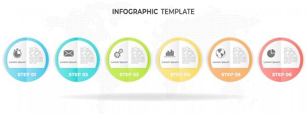 Opção de modelo 6 círculo infográfico.