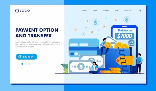 Opção de pagamento e transferência de design de vetor de site de página de destino