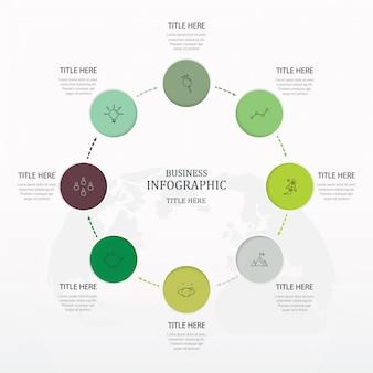Opção do círculo 6 ou etapas e ícones para o conceito do negócio e o fundo do mapa do mundo.