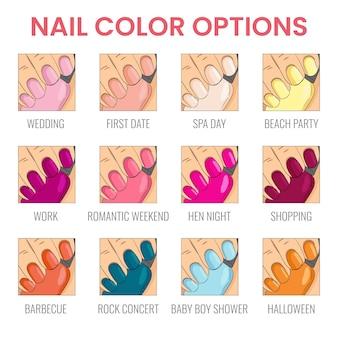 Opções de cores de unhas de manicure estilos de unhas para ocasiões diferentes