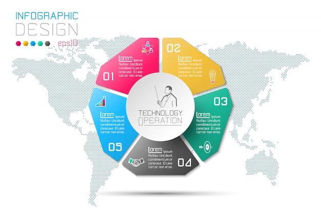 Opções de etapa de negócios e infográfico abstrato