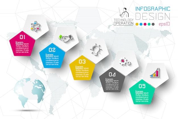 Opções de etapa de negócios e infográficos abstratas