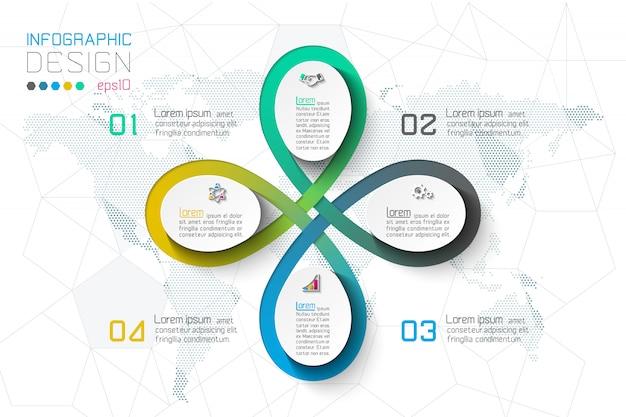 Opções de etapa de negócios e infográficos abstratos.
