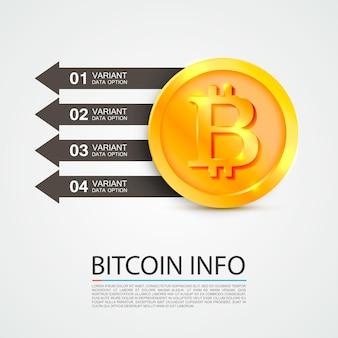 Opções de financiamento de negócios de infográficos de bitcoin. ilustração vetorial