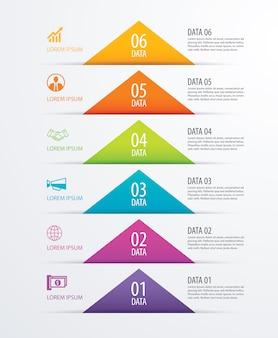 Opções de infográfico 6 cronograma triângulo modelo de papel com dados