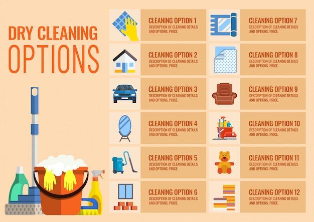 Opções de limpeza a seco