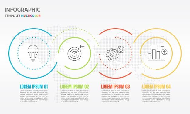 Opções de linha fina 3 infográfico círculo abstrato.