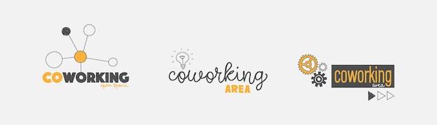Opções de logotipo para coworking cowork coworking espaço colaboração escritório