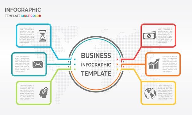 Opções de modelo 6 diagrama negócios infográfico. estilo de linha fina.
