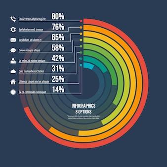 Opções de modelo 8 do infográfico informativo do círculo