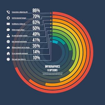 Opções de modelo 9 do infográfico informativo do círculo