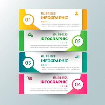 Opções de modelo de infográficos com banner retangular