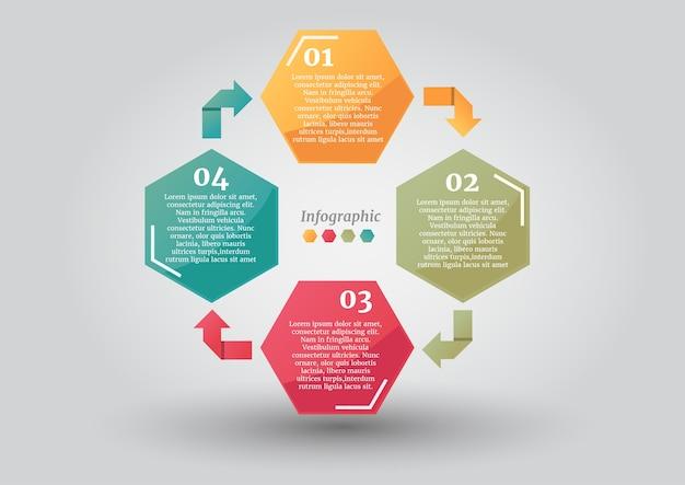 Opções de negócio de hexágono de seta ciclo abstrato ou modelo de infográficos de passo